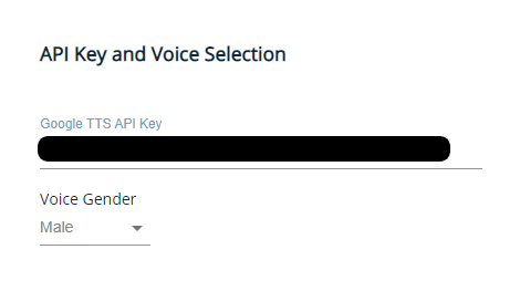 api key and voice selection